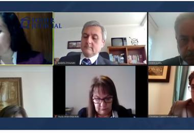 Audiencia virtual de apelación sobre el caso de militares bolivianos.