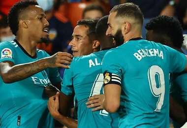 Benzema (9) anotó el gol del triunfo para el Real Madrid. Foto: AFP