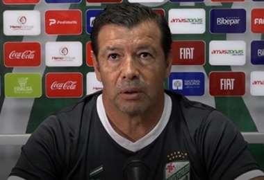 Erwin Sánchez durante la conferencia de prensa virtual. Foto: Captura de pantalla