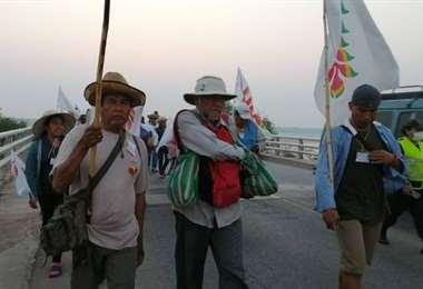Marcha indígena se acerca a la capital cruceña. Foto: #GranMarchaIndígena