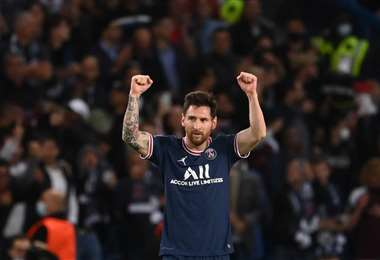 Messi celebra el gol que le marcó este martes al City. Foto: AFP