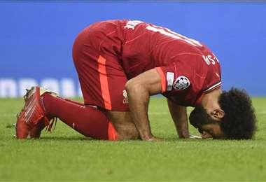 Salah y la singular forma de festejar sus goles en el Liverpool. Foto: AFP