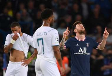 El festejo de Messi entre jugadores del City. Foto: AFP