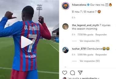Captura de pantalla del video que publicó el Barcelona en redes sociales