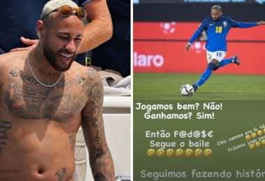 Neymar cuando estaba de vacaciones (izq.) y su publicación en Instagram (dcha.)