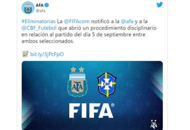 Captura de pantalla del tuit que publicó la AFA