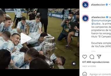 Captura de pantalla del video publicado por la AFA en Instagram.