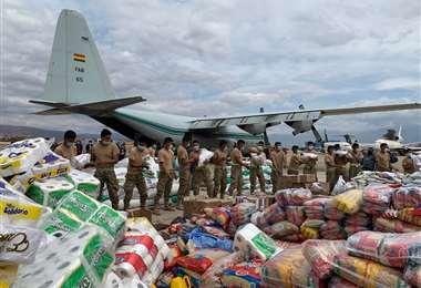 Gobierno envía ayuda a la chiquitania por los incendios. Foto: ABI