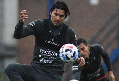 Marcelo Martins en la práctica de este miércoles en Casa Amarilla. Foto. FBF